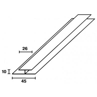 PROFIL DE RACCORD PVC BLANC 600 CM       POUR LAMBRIS SOUS FACE