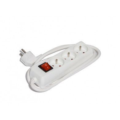 BLOC ELECTRIQ DOMESTIQUE BLANC 3 PRISES  INTERUPTEUR + 1,5M DE CABLE HO5VVF 3G1