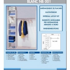 KIT AMENAGEMENT PLACARD BASIC BLANCNB001 2 COTES 6 TABLETTES  1 TUBE 1 QUINCAIL
