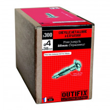CHEVILLE METAL D4X38/300 + VIS - CME     POUR PLAQUE DE PLATRE
