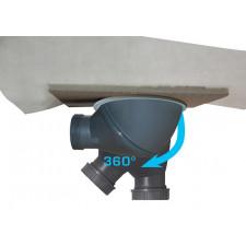 SIPHON SOL INOX A CHAPER 20X20CM 360°    AVEC BONDE ORIENTABLE 360° EP 83 À 123MM